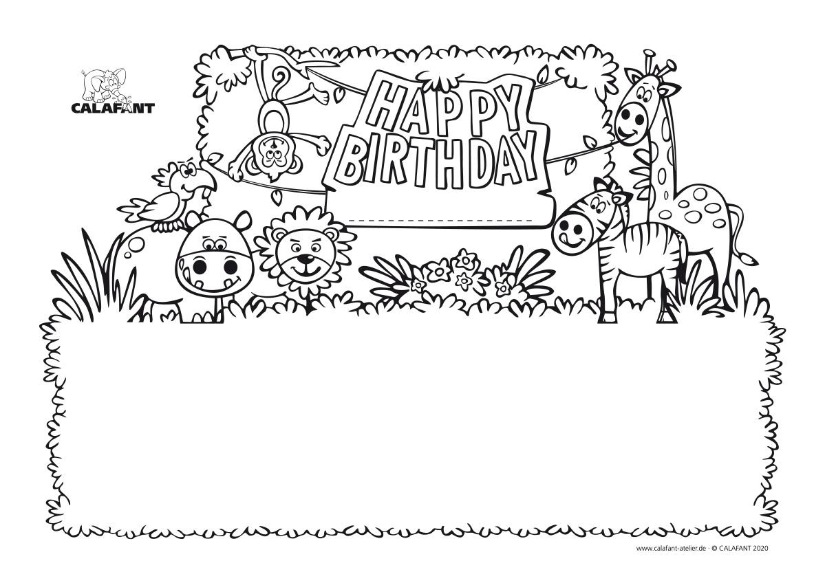 ausmalbild Geburtstag Dschungel Calafant