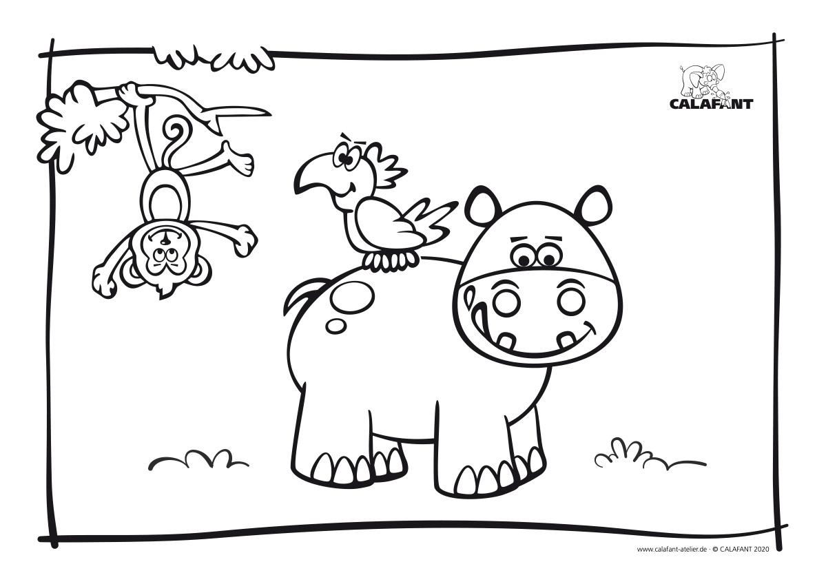 Ausmalbild Hippo Calafant